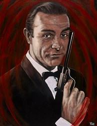 Sean Connery - James Bond by Pete Humphreys - Original Painting on Stretched Canvas sized 28x36 inches. Available from Whitewall Galleries
